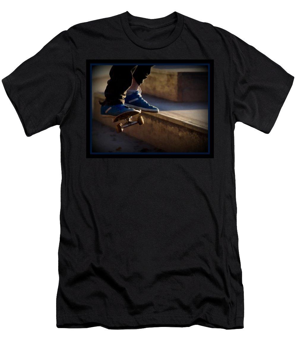 Airborne Skateboarder Men's T-Shirt (Athletic Fit) featuring the digital art Airborne Skateboarder by Ernie Echols