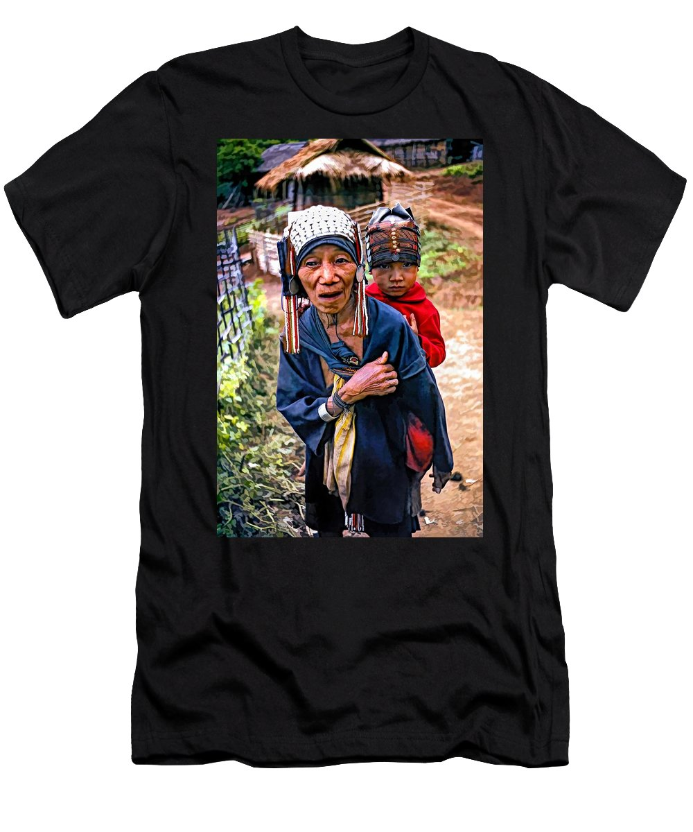 Akha Men's T-Shirt (Athletic Fit) featuring the photograph Akha Tribe II Paint Filter by Steve Harrington