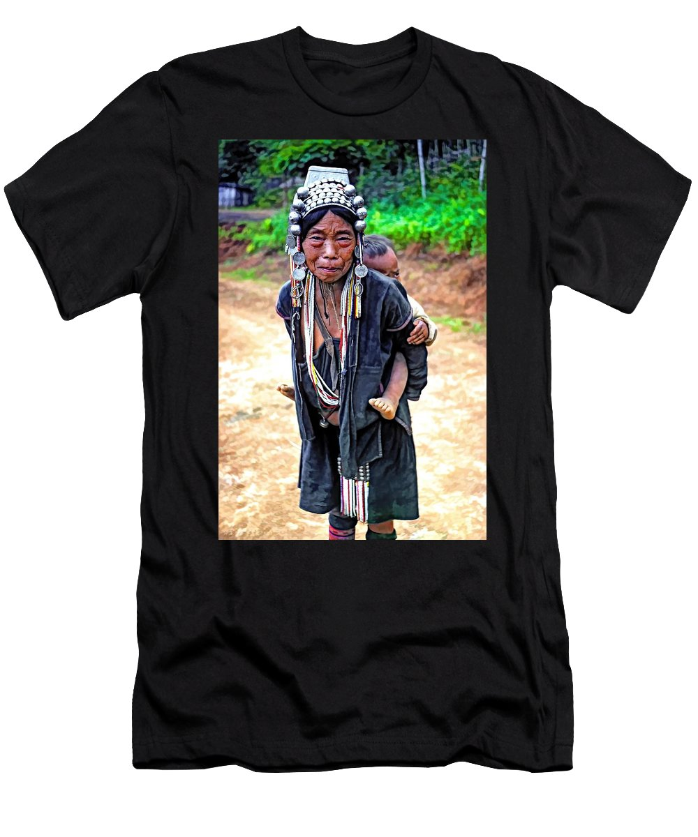 Hill Tribe Men's T-Shirt (Athletic Fit) featuring the photograph Akha Tribe Paint Filter by Steve Harrington