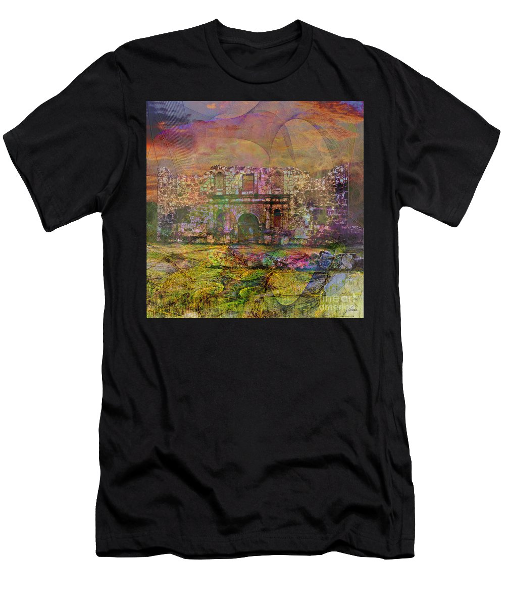 Alamo Men's T-Shirt (Athletic Fit) featuring the digital art Alamo After The Fall - Square Version by John Beck