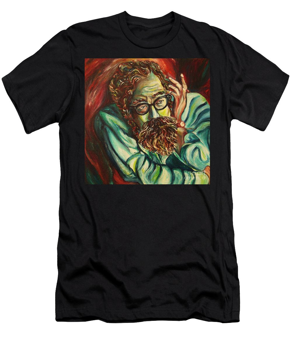 Allen Ginsberg Men's T-Shirt (Athletic Fit) featuring the painting Alan Ginsberg Poet Philosopher by Carole Spandau