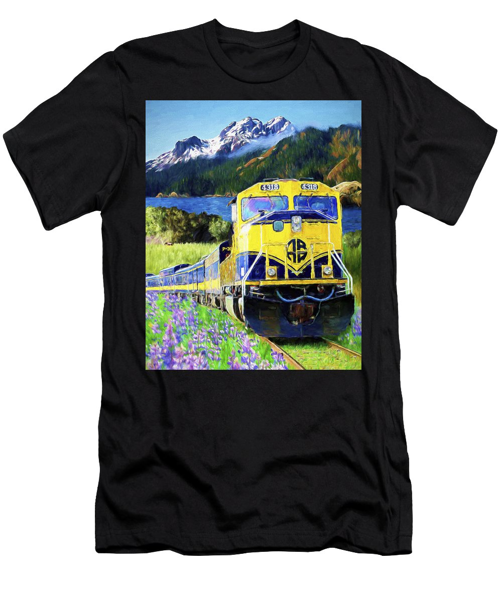 Railroad Men's T-Shirt (Athletic Fit) featuring the painting Alaska Railroad by David Wagner