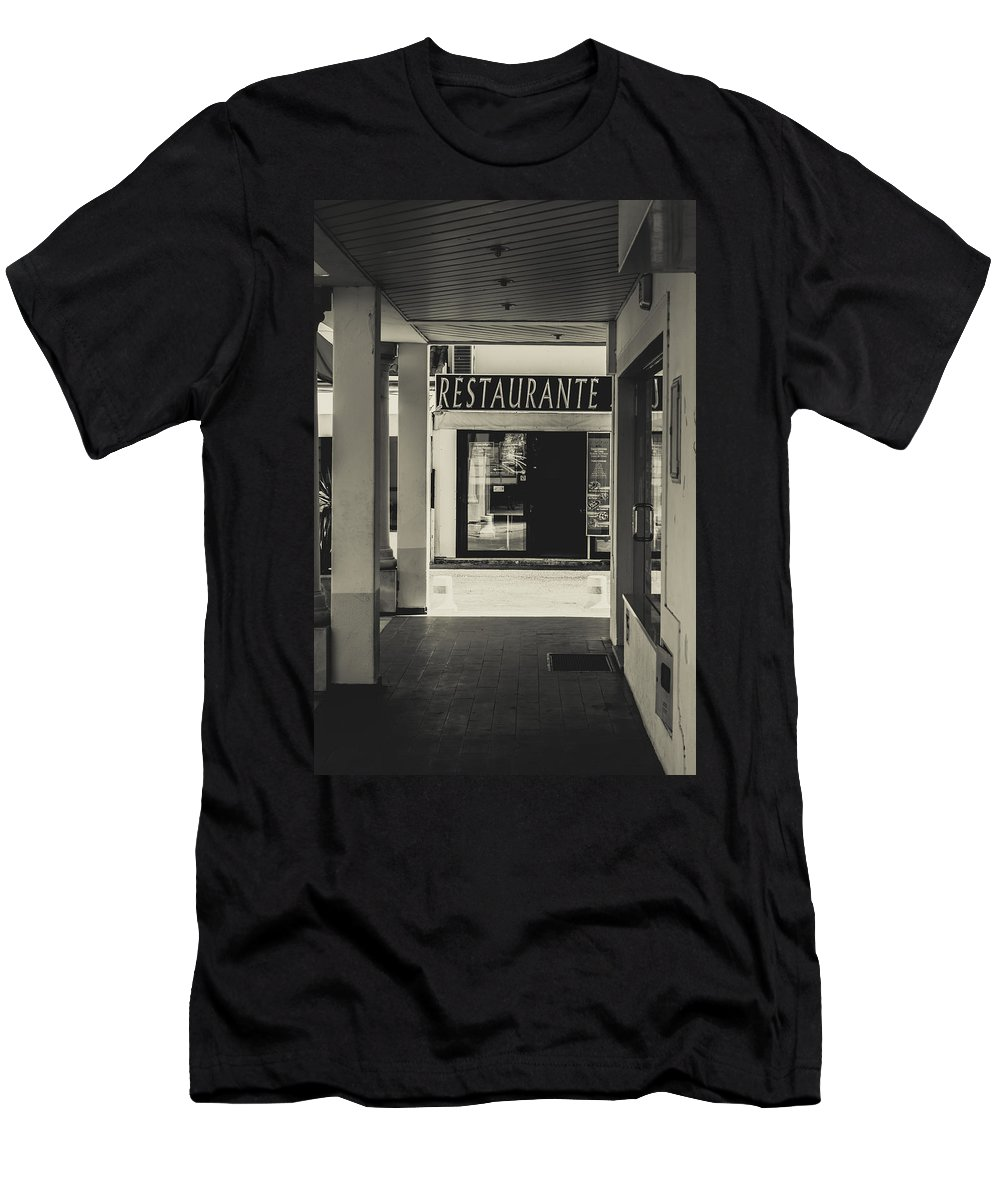 Street Men's T-Shirt (Athletic Fit) featuring the photograph Albufeira Street Series - Restaurante by Marco Oliveira