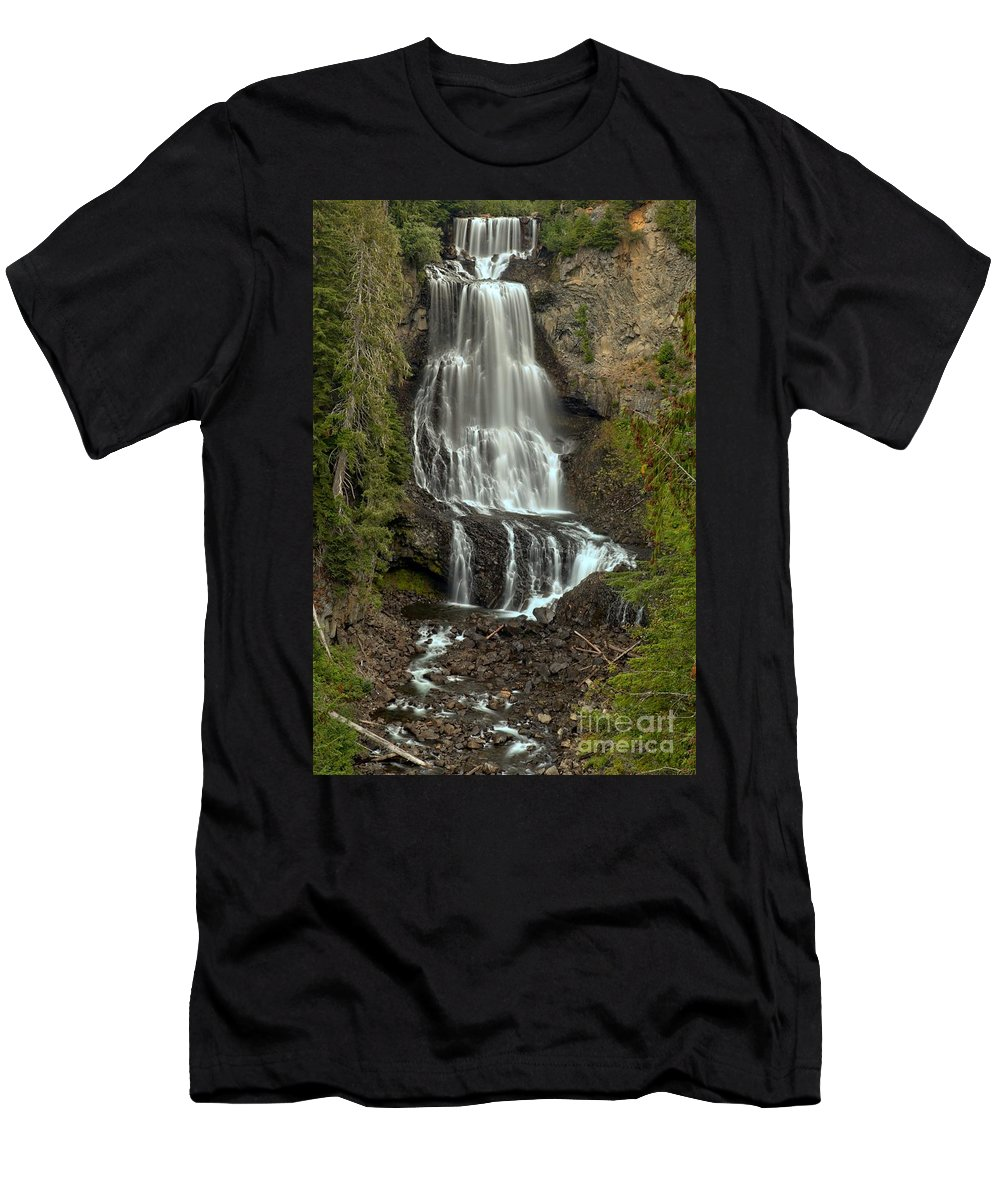 Alexander Falls Men's T-Shirt (Athletic Fit) featuring the photograph Alexander Falls - Whistler Bc by Adam Jewell