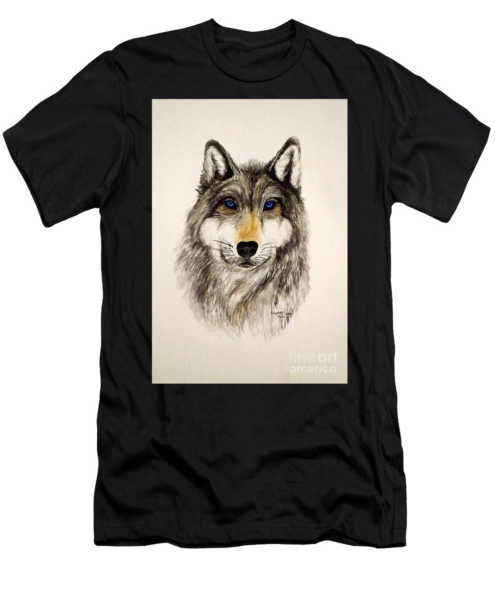 Wolf Men's T-Shirt (Athletic Fit) featuring the painting Alfa by Elizabeth Harshman