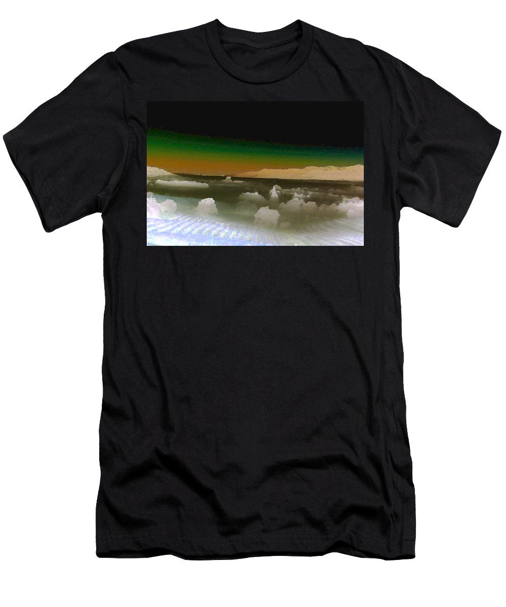 Inland Sea Men's T-Shirt (Athletic Fit) featuring the painting Alien Sea by Gail Daley