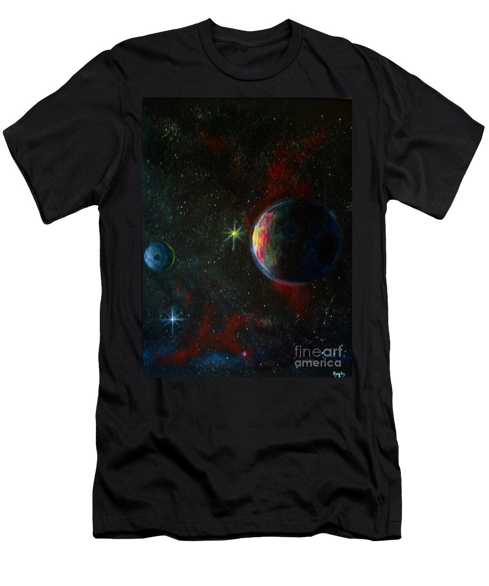 Cosmos Men's T-Shirt (Athletic Fit) featuring the painting Alien Worlds by Murphy Elliott