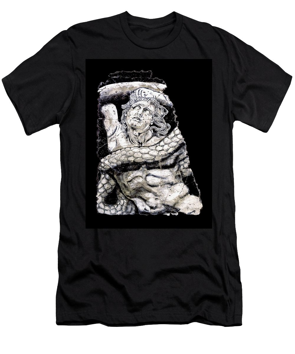 Mythology Men's T-Shirt (Athletic Fit) featuring the painting Alkyoneus by Steve Bogdanoff