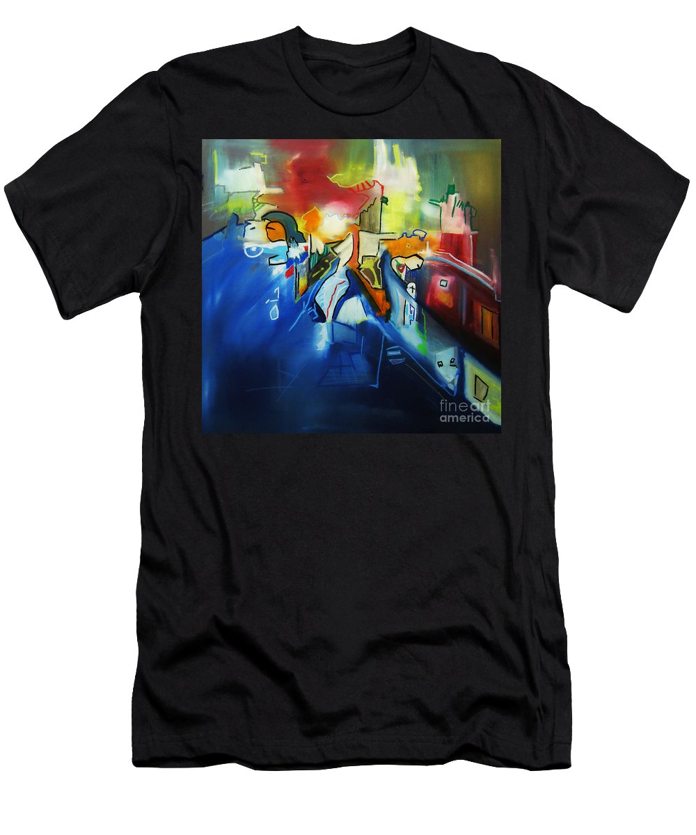 Colorful Men's T-Shirt (Athletic Fit) featuring the painting All At Once by Jeff Barrett