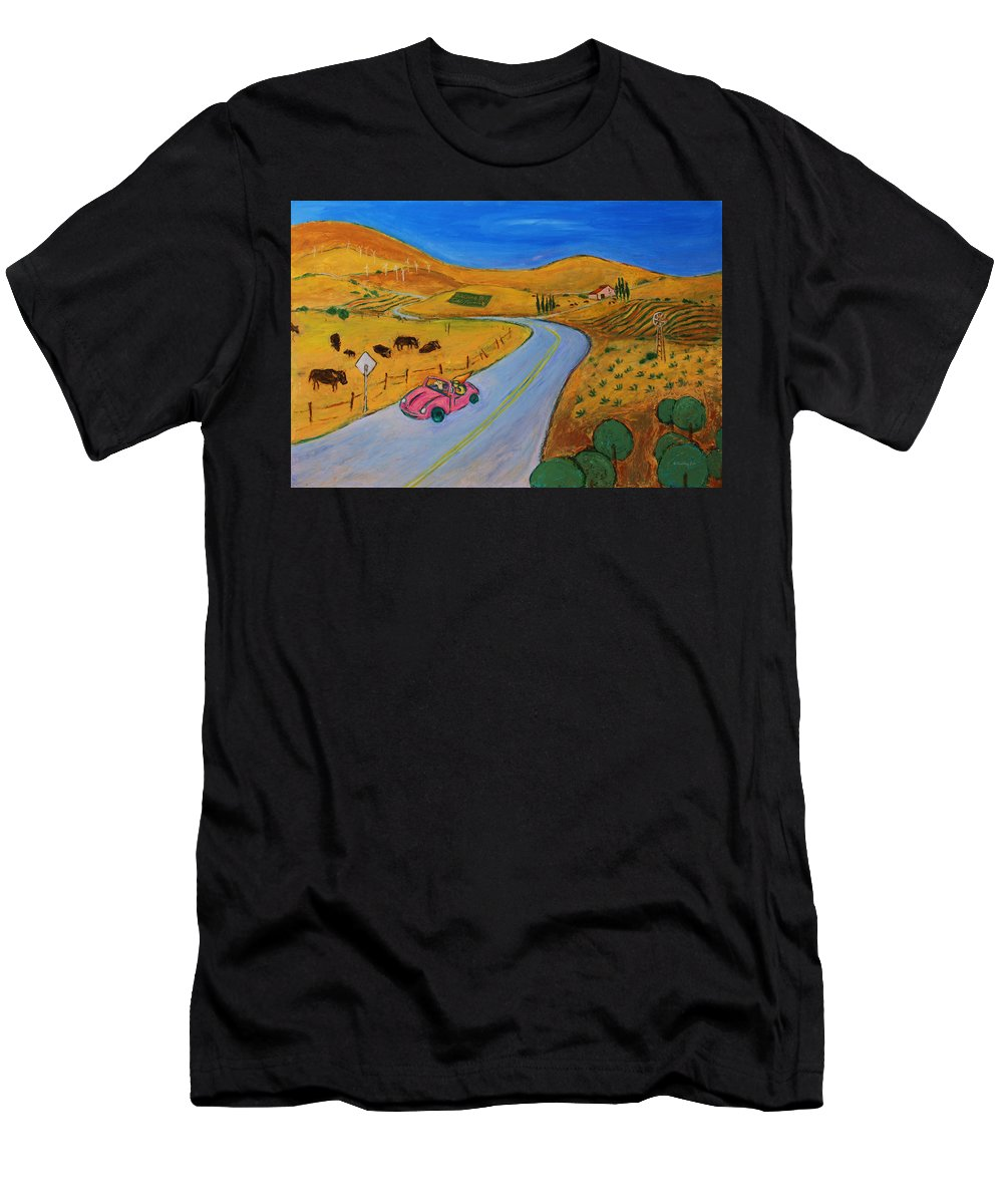 Landscape Men's T-Shirt (Athletic Fit) featuring the painting All My Loving I Will Send To You by Xueling Zou