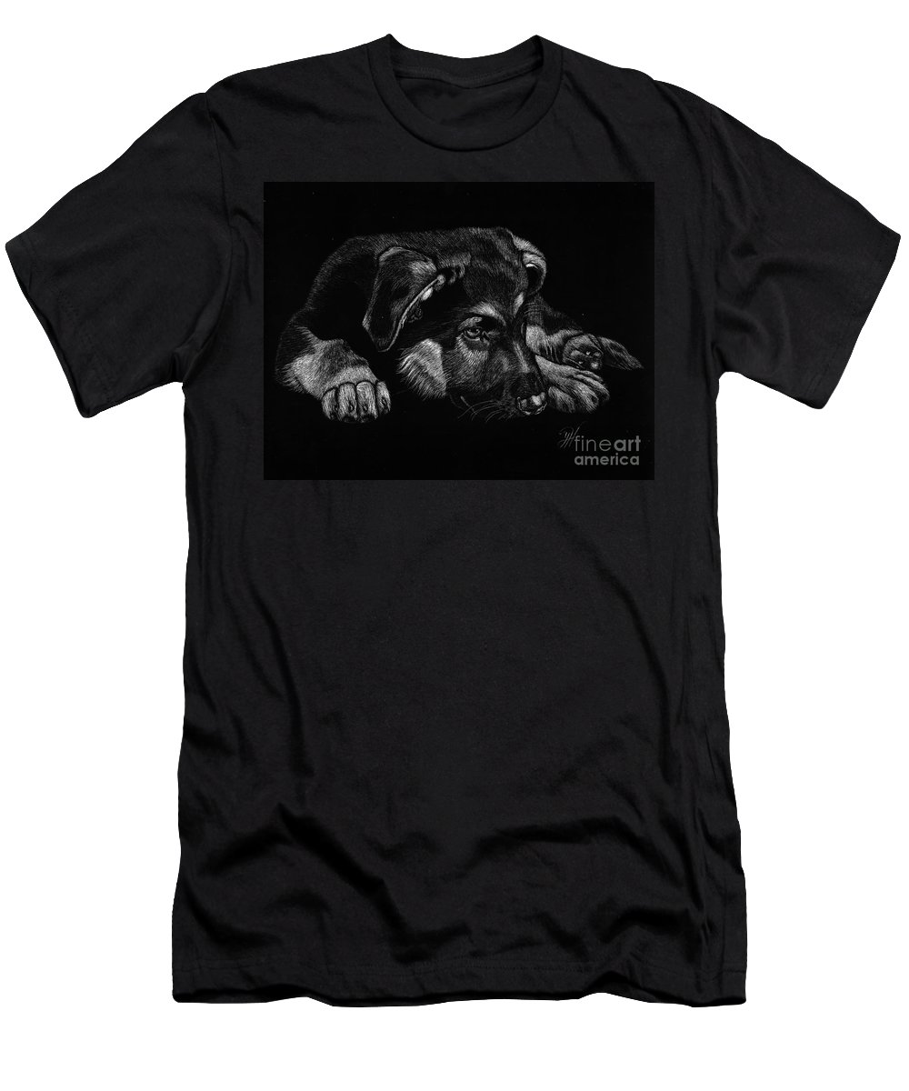 German Shepard Men's T-Shirt (Athletic Fit) featuring the drawing All Tuckered Out by Yenni Harrison