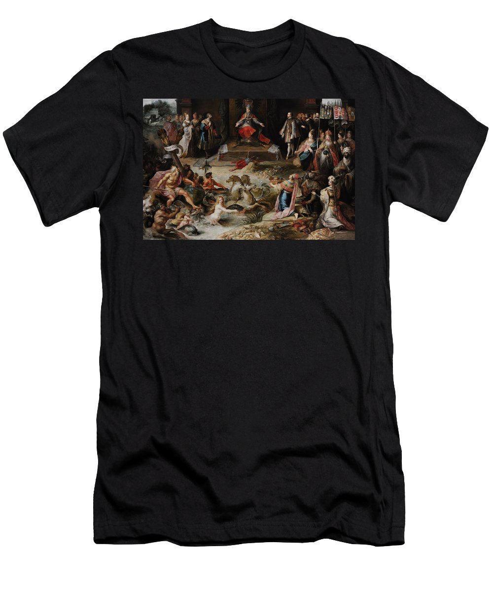 17th Century Men's T-Shirt (Athletic Fit) featuring the photograph Allegory Of The Abdication Of Emperor Charles V In Brussels, C.1630-1640, By Frans Francken by Bridgeman Images