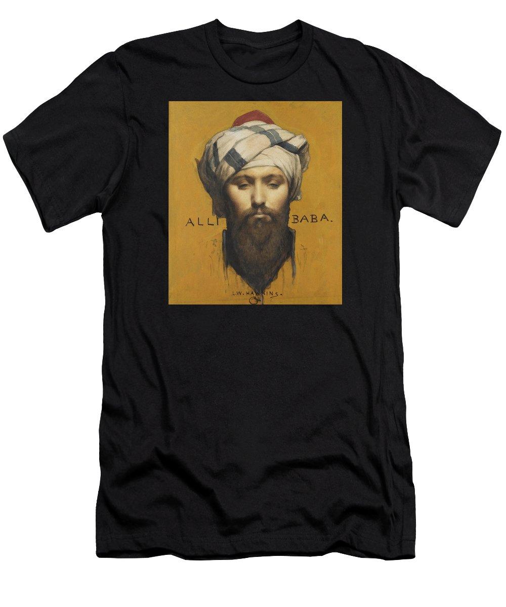 Louis Weldon Hawkins Men's T-Shirt (Athletic Fit) featuring the painting Alli Baba by Louis Weldon Hawkins