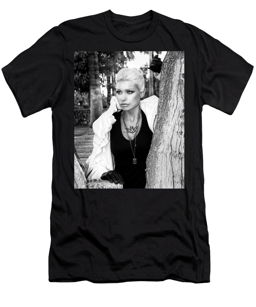 Blonde Men's T-Shirt (Athletic Fit) featuring the photograph Allure Bw Palm Springs by William Dey