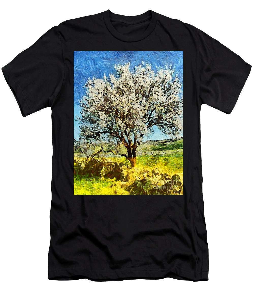 Spring Men's T-Shirt (Athletic Fit) featuring the painting Almond Tree by Dragica Micki Fortuna
