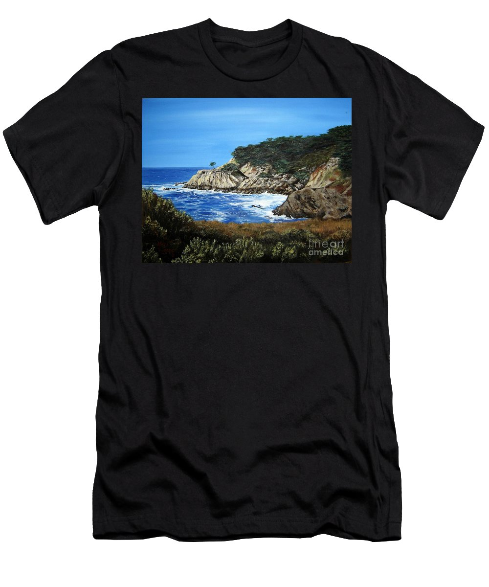 Landscape Men's T-Shirt (Athletic Fit) featuring the painting Along The California Coast by Mary Rogers