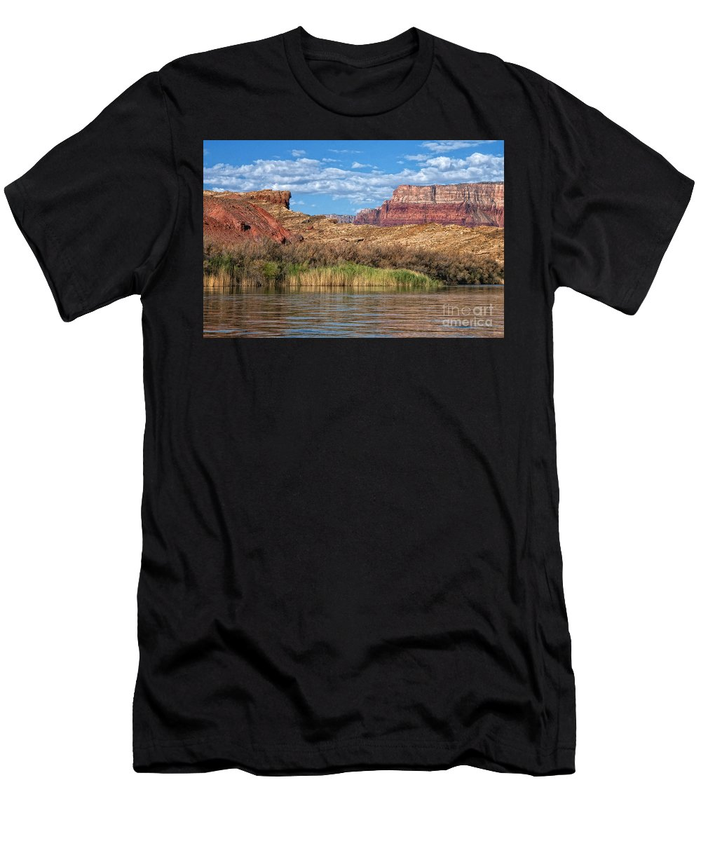 Lees Ferry Men's T-Shirt (Athletic Fit) featuring the photograph Along The Colorado River by Claudia Kuhn