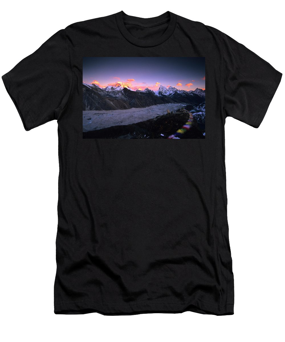 Alpenglow Men's T-Shirt (Athletic Fit) featuring the photograph Alpenglow Lights The Summit Of Mt by Dan Rafla