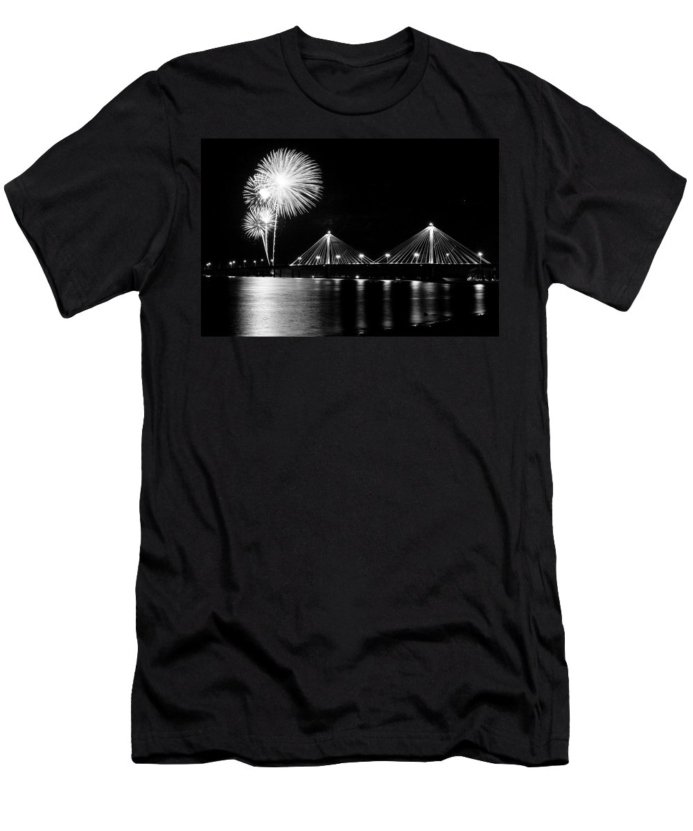 Clark Men's T-Shirt (Athletic Fit) featuring the photograph Alton Fireworks Black And White by Scott Rackers