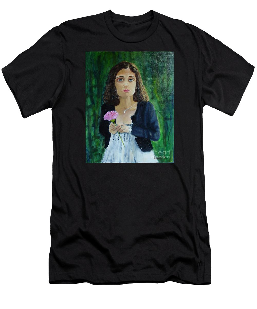 Portrait T-Shirt featuring the painting Aly by Laurie Morgan
