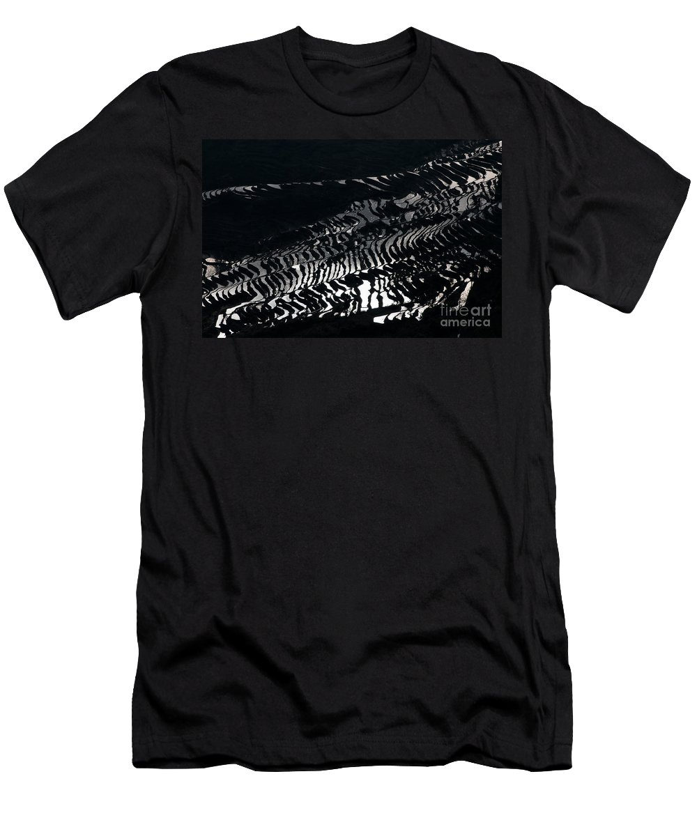 Agriculture Men's T-Shirt (Athletic Fit) featuring the photograph Amazing Rice Terrace In Black And White by Kim Pin Tan