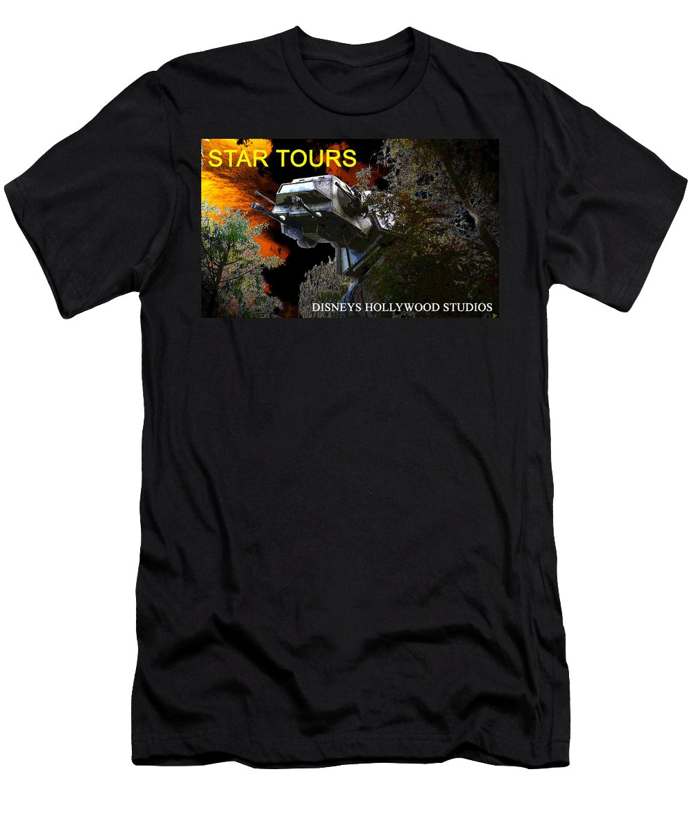 Art Men's T-Shirt (Athletic Fit) featuring the painting Ambushed On Endor Poster Work With Text. by David Lee Thompson