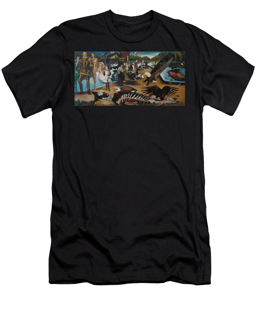Unfinished Men's T-Shirt (Athletic Fit) featuring the painting America The Beautiful by Jude Darrien