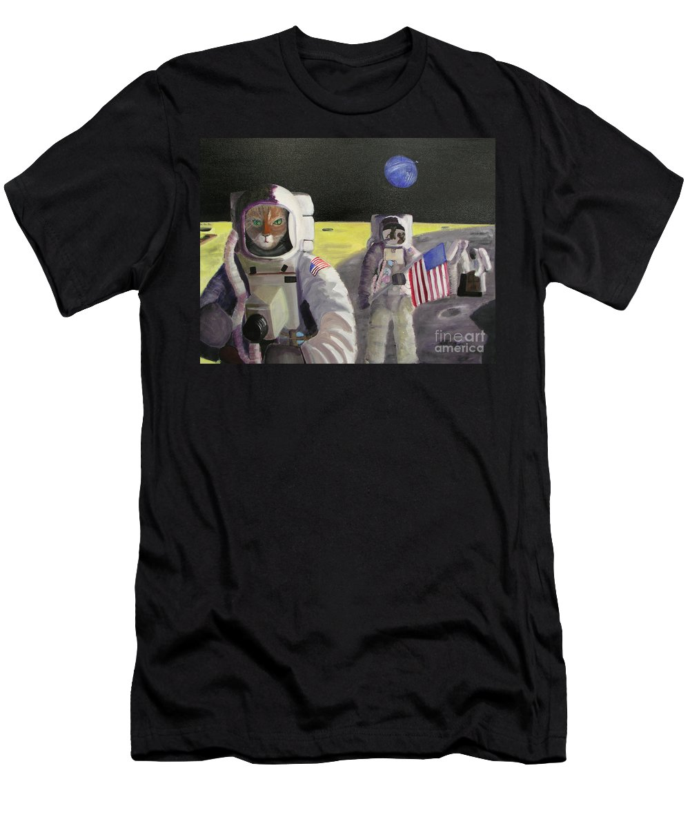 Astronauts Men's T-Shirt (Athletic Fit) featuring the painting American Cat Astronauts by Gail Eisenfeld