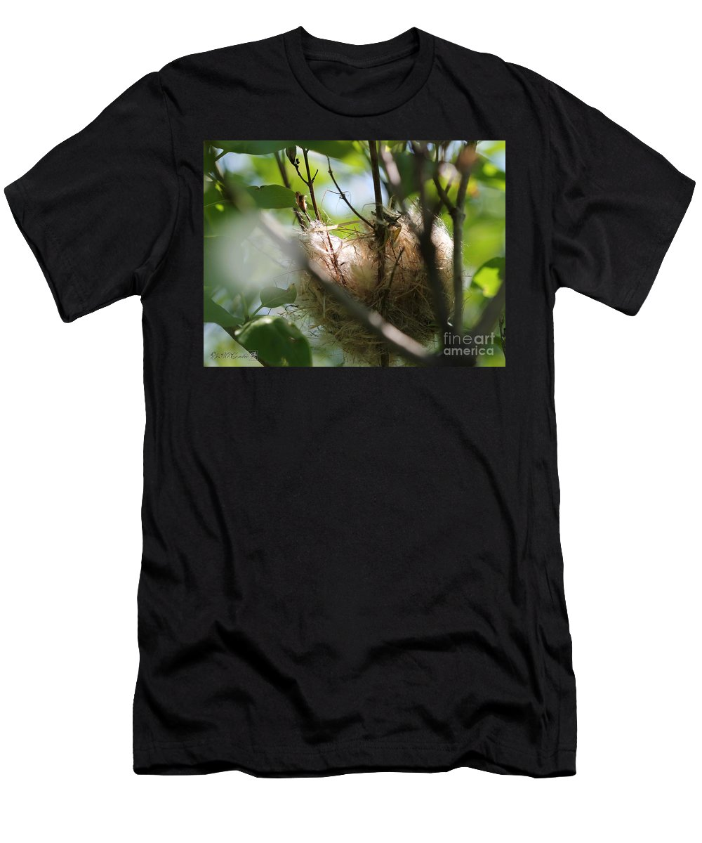 American Goldfinch Men's T-Shirt (Athletic Fit) featuring the photograph American Goldfinch Nest Under Construction by J McCombie