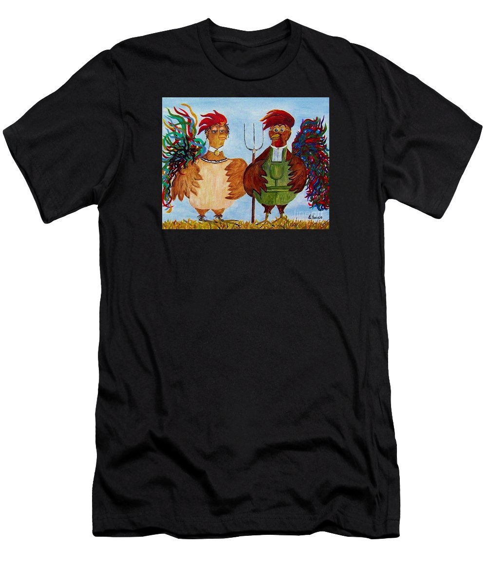 Rooster Men's T-Shirt (Athletic Fit) featuring the painting American Gothic Down On The Farm - A Parody by Eloise Schneider Mote