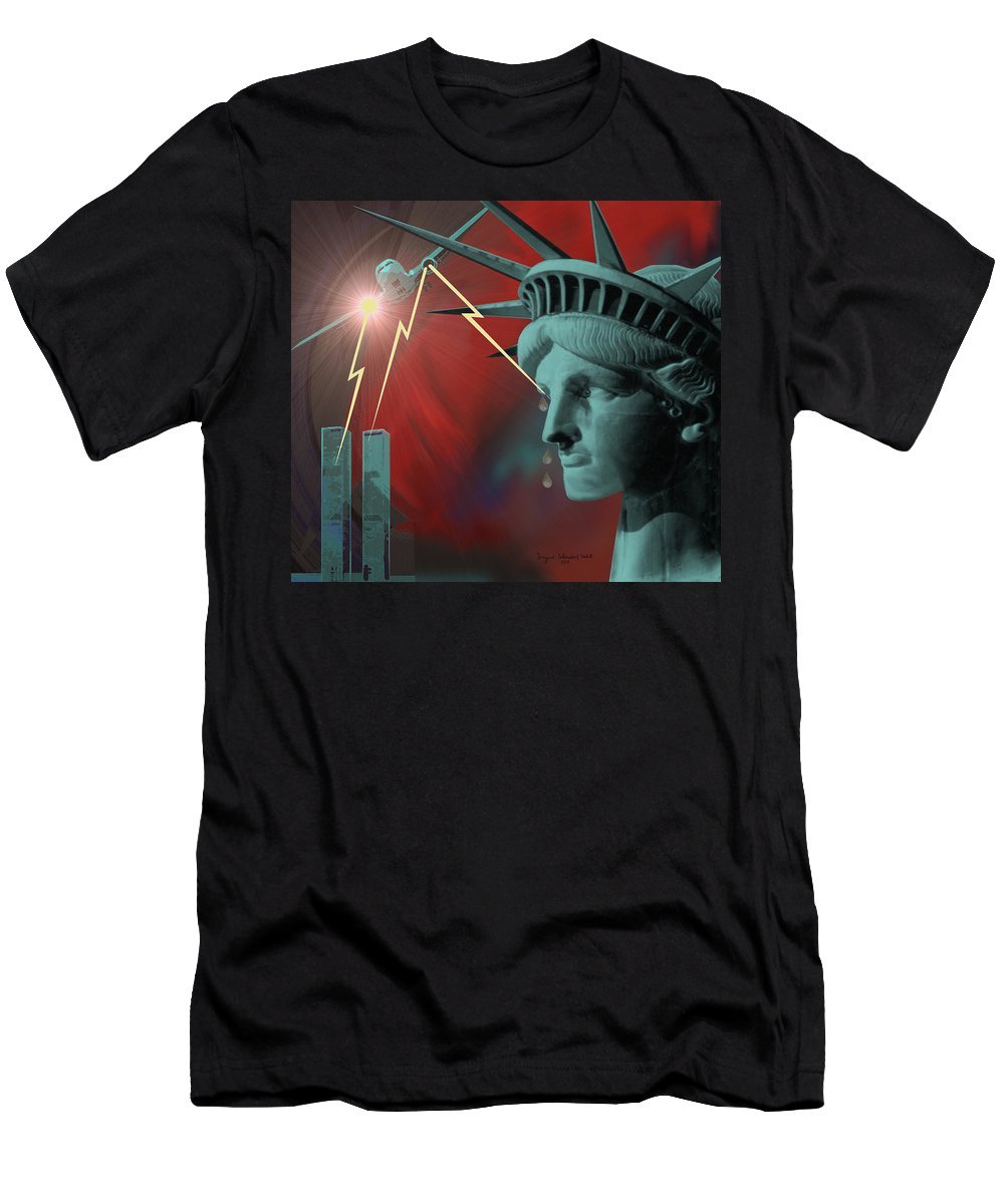 September Nine-eleven Men's T-Shirt (Athletic Fit) featuring the painting Americas Deepest Wound - 100 by Irmgard Schoendorf Welch