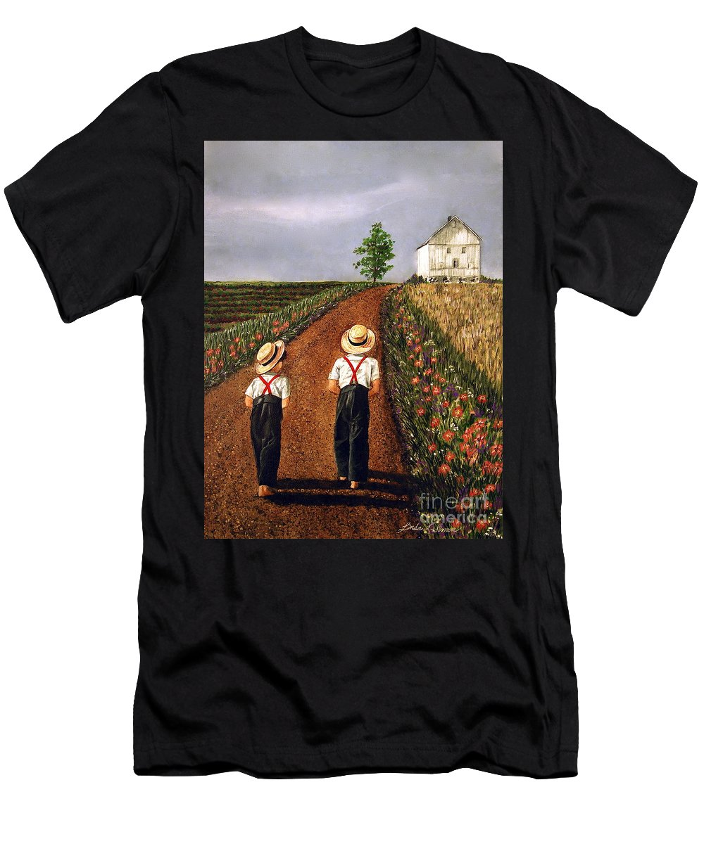 Lifestyle Men's T-Shirt (Athletic Fit) featuring the painting Amish Road by Linda Simon
