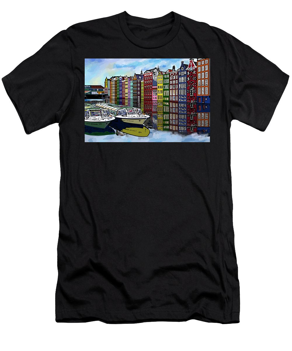 Amsterdam Men's T-Shirt (Athletic Fit) featuring the digital art Amsterdam Holland by James Mingo