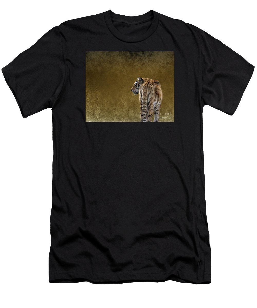 Amur Tiger Men's T-Shirt (Athletic Fit) featuring the photograph Amur Tiger by Terri Waters