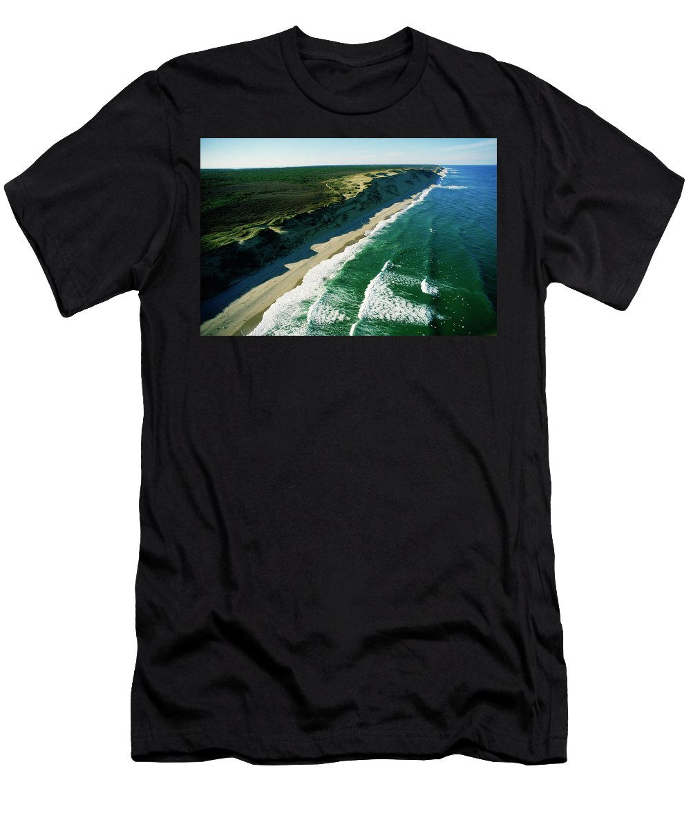 Aerial View Men's T-Shirt (Athletic Fit) featuring the photograph An Aerial View Of Waves Hitting by Jose Azel