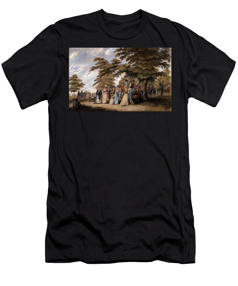 Airing Men's T-Shirt (Athletic Fit) featuring the drawing An Airing In Hyde Park, 1796 by Edward Days