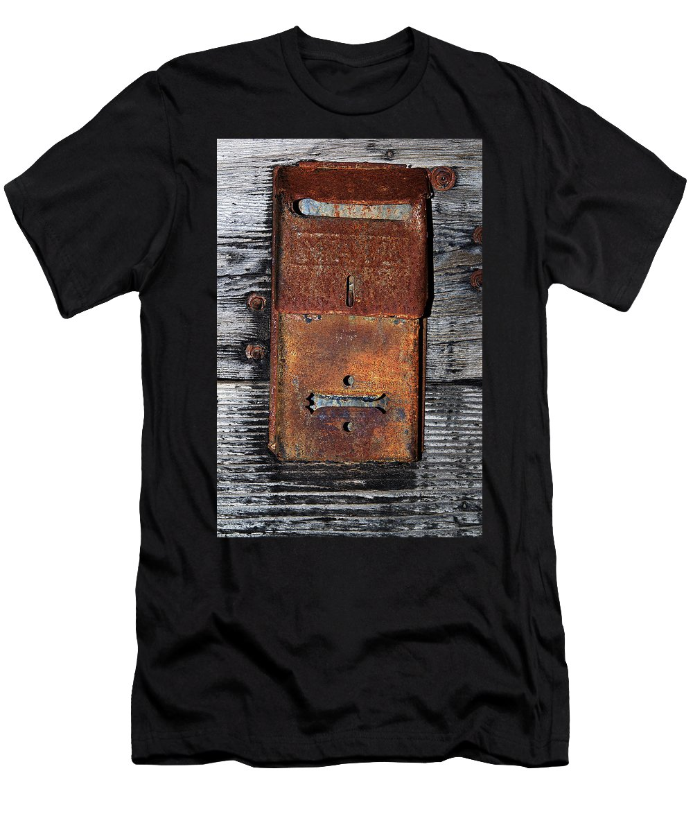 Mailbox Men's T-Shirt (Athletic Fit) featuring the photograph An Antique Mailbox by Phyllis Denton