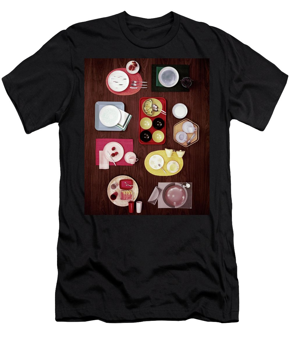Home Accessories Men's T-Shirt (Athletic Fit) featuring the photograph An Assortment Of Dinnerware by Tom Yee