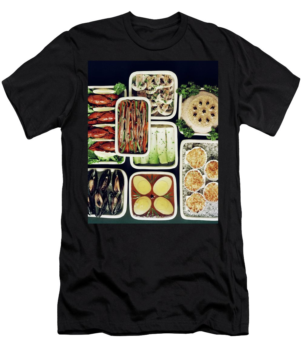 Food Men's T-Shirt (Athletic Fit) featuring the photograph An Assortment Of Food In Containers by John Stewart