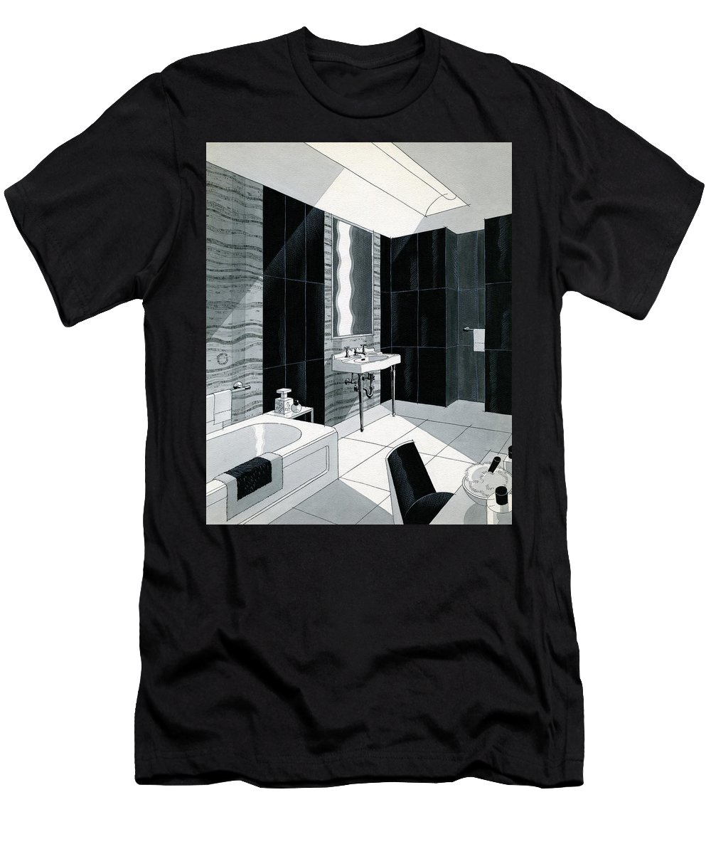 Bathroom T-Shirt featuring the digital art An Illustration Of A Bathroom by Urban Weis