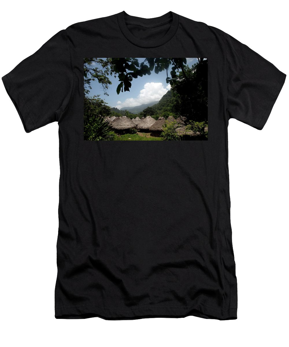 Colombia Men's T-Shirt (Athletic Fit) featuring the photograph An Indigenous Village In The Jungles by Dennis Drenner