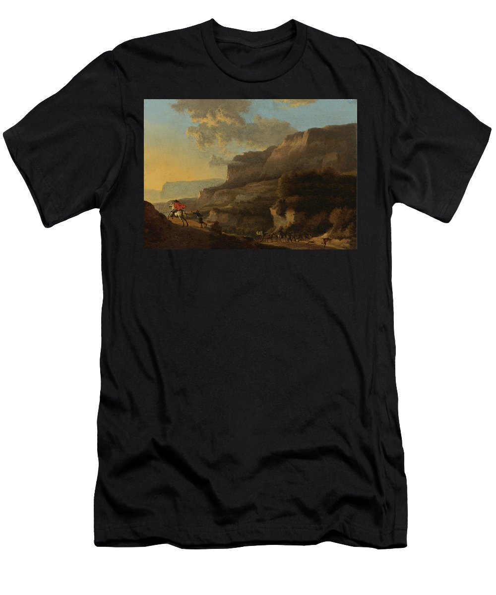 Jan Hackaert Men's T-Shirt (Athletic Fit) featuring the painting An Italianate Landscape With Travellers Ambushed By Bandits by Jan Hackaert