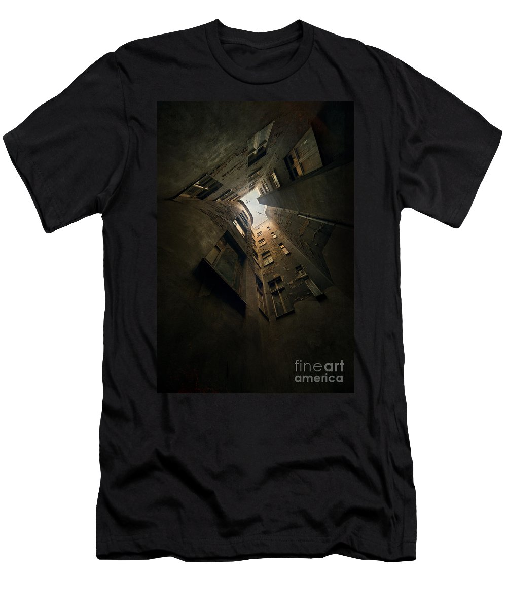 Courtyard Men's T-Shirt (Athletic Fit) featuring the photograph An Old Courtyard by Jaroslaw Blaminsky