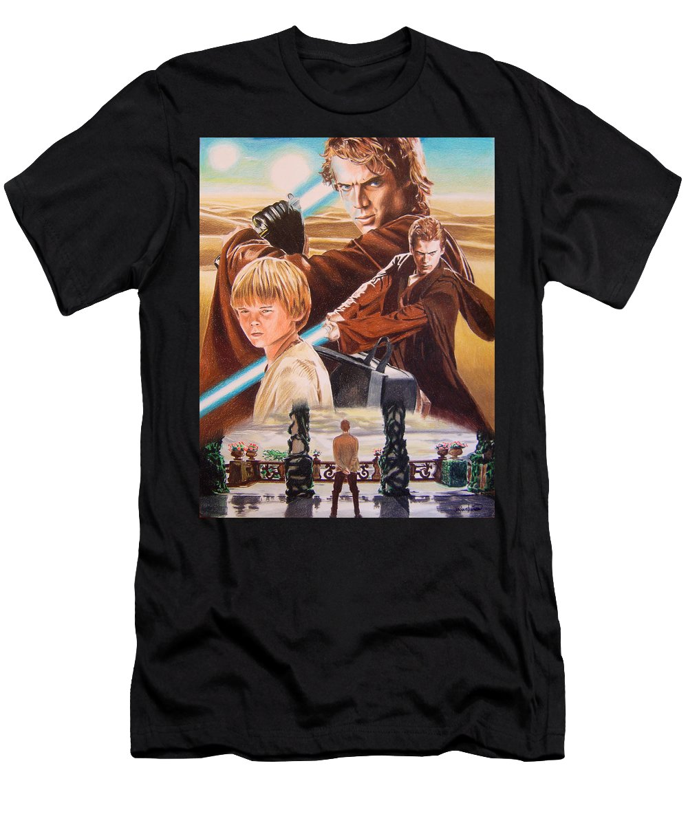 Star Wars Men's T-Shirt (Athletic Fit) featuring the painting Anakin Skywaler Tatooine by Joseph Christensen