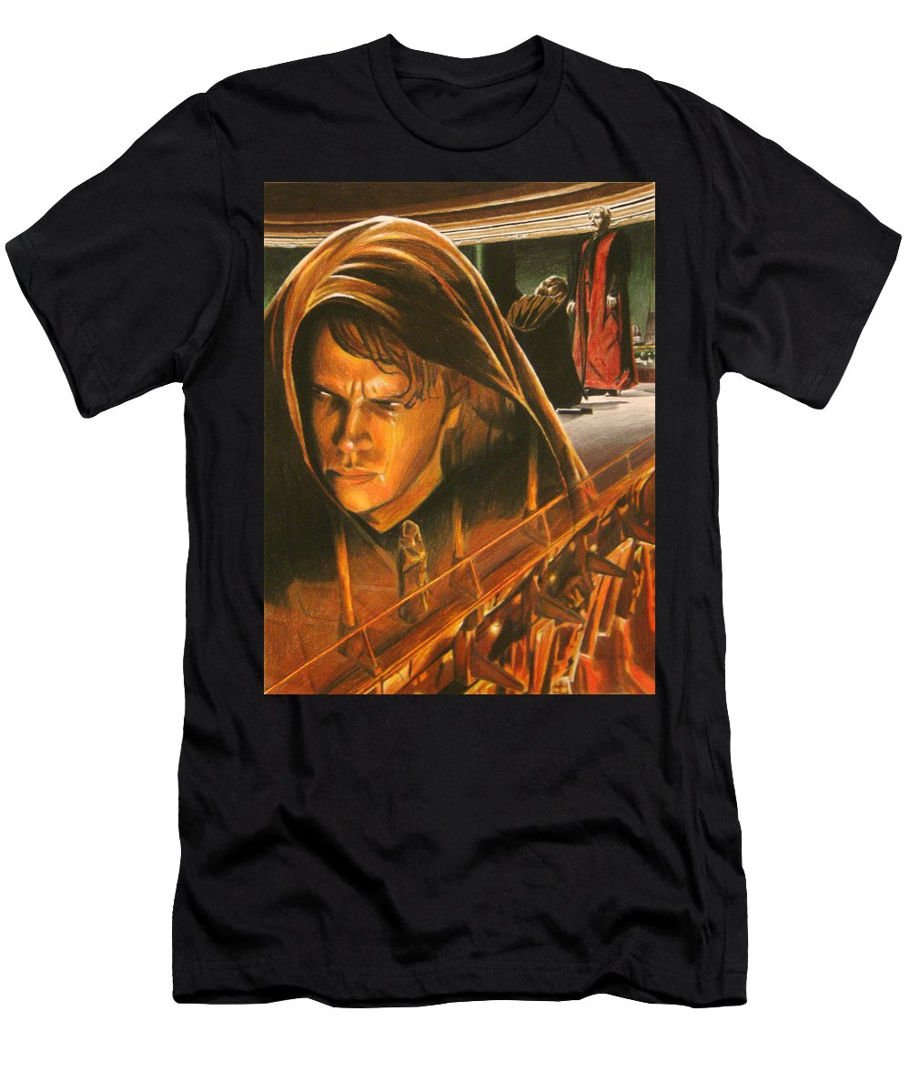 Anakin Men's T-Shirt (Athletic Fit) featuring the painting Anakin Turns To The Dark Side by Joseph Christensen