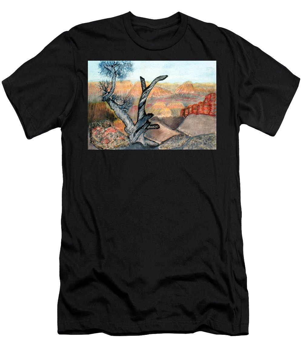 Landscape Men's T-Shirt (Athletic Fit) featuring the painting Anceint Canyon Watcher by Tim Longwell