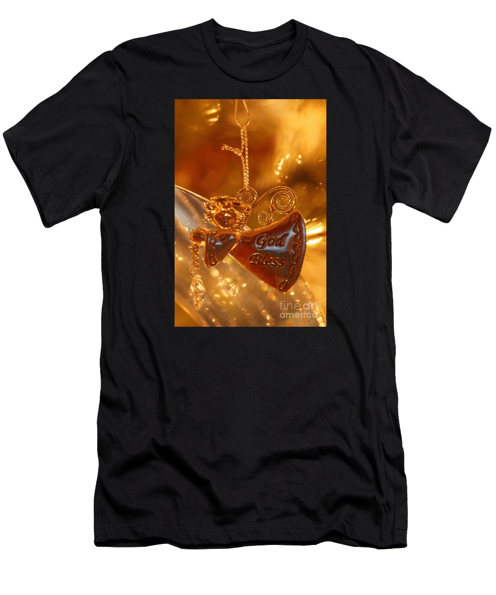 Christmas Men's T-Shirt (Athletic Fit) featuring the photograph Angel Blessing by Linda Shafer