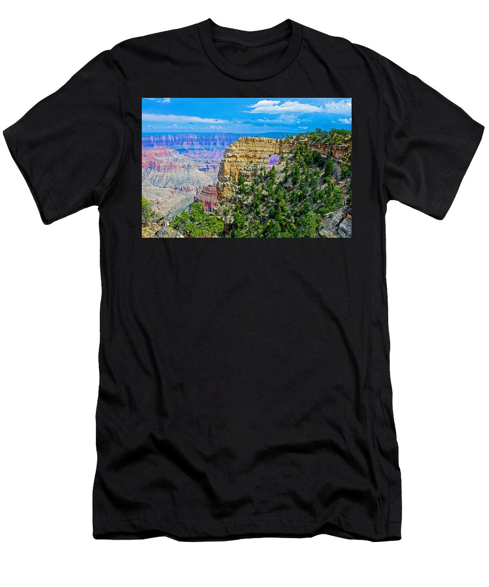 Angel's Window At Cape Royal On North Rim/grand Canyon National Park Men's T-Shirt (Athletic Fit) featuring the photograph Angel's Window At Cape Royal On North Rim Of Grand Canyon-arizona by Ruth Hager