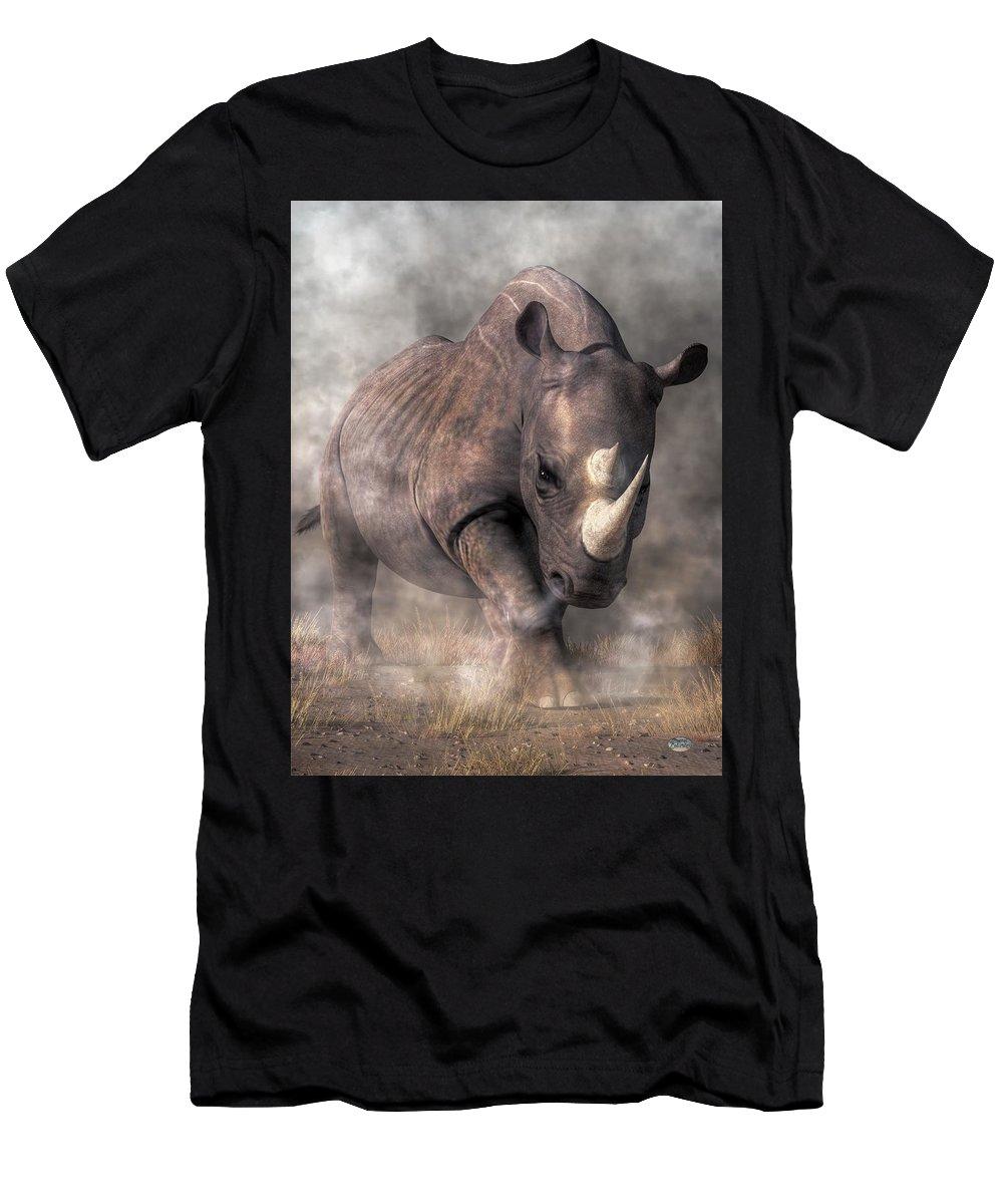Angry Rhino Men's T-Shirt (Athletic Fit) featuring the digital art Angry Rhino by Daniel Eskridge