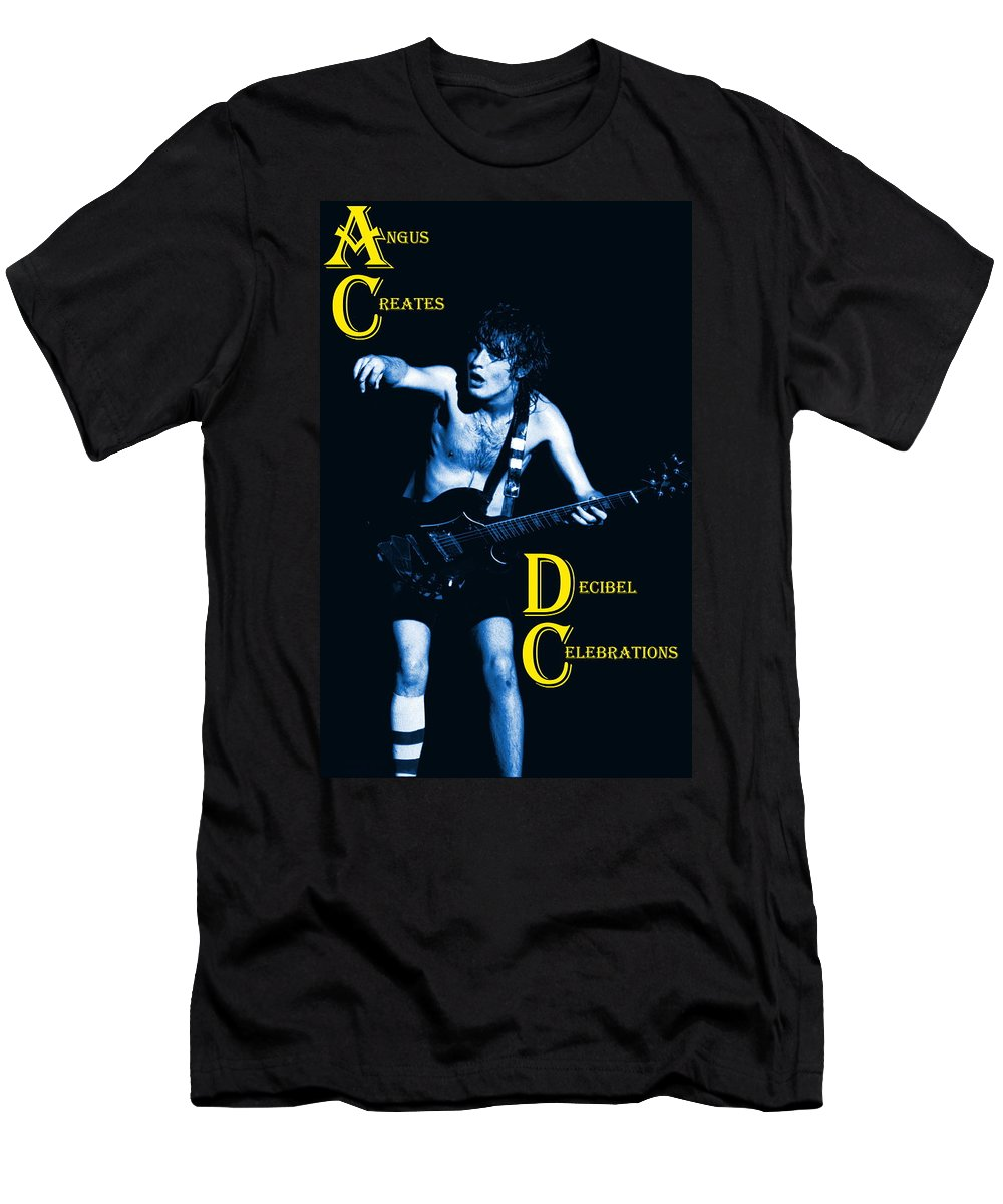Angus Young Men's T-Shirt (Athletic Fit) featuring the photograph Angus Creates Decibel Celebrations In Blue by Ben Upham